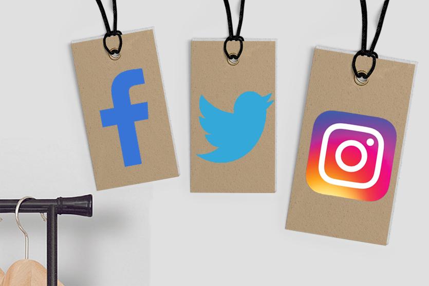 Logotipos de Facebook, Twitter, e Instagram en etiquetas de precios